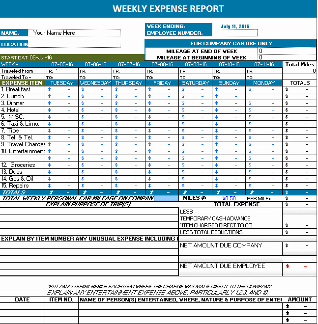 Expenses Report Template Excel New Ms Excel Weekly Expense Report
