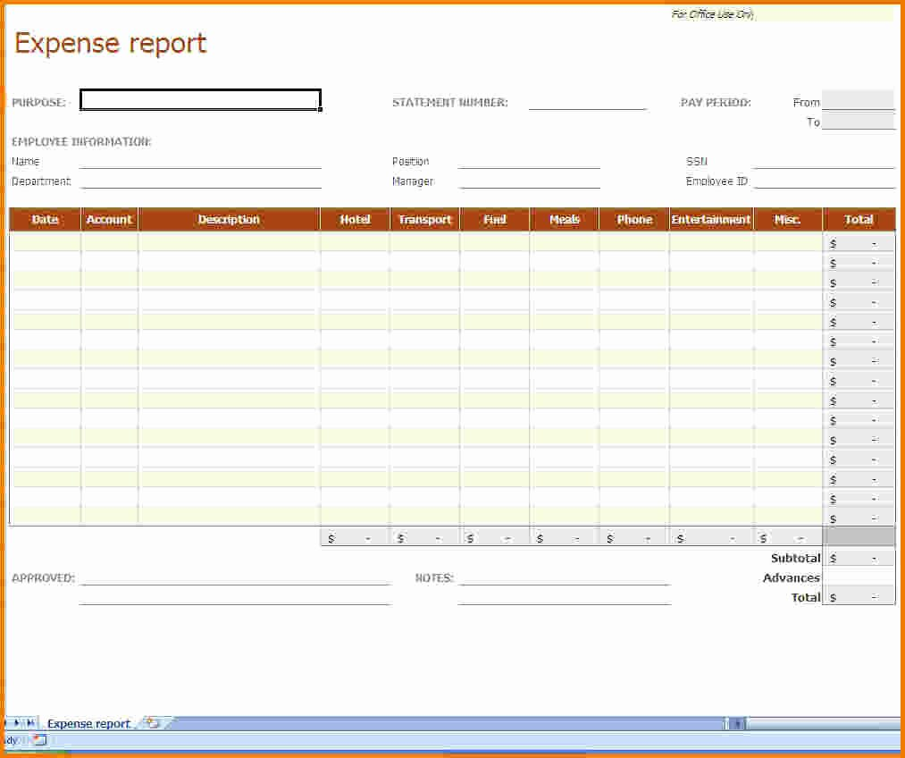 Expenses Report Template Excel Unique 6 Expense Report Template Excel