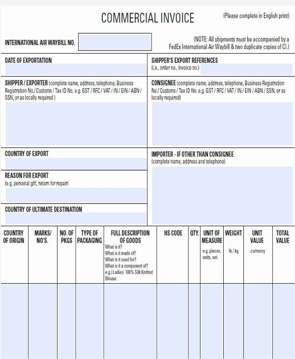 Export Commercial Invoice Template Best Of 31 Blank Invoice Templates