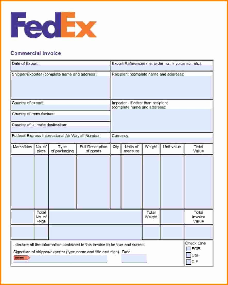 Export Commercial Invoice Template Best Of 9 Courier Bill format In Word