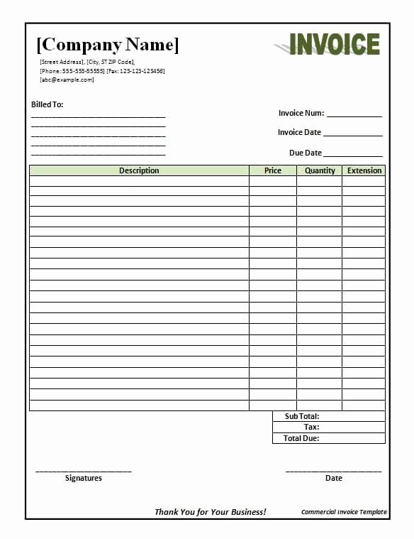 Export Commercial Invoice Template Best Of Mercial Invoice Template Printable Word Excel