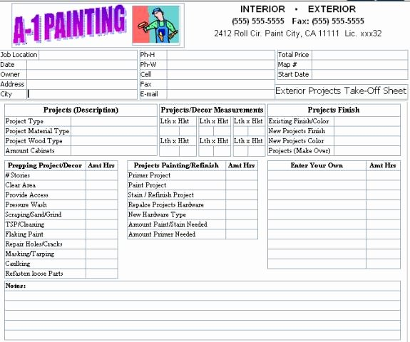 Exterior Painting Estimate Template Awesome Lovely Exterior Paint Estimator 9 Painting Estimate form