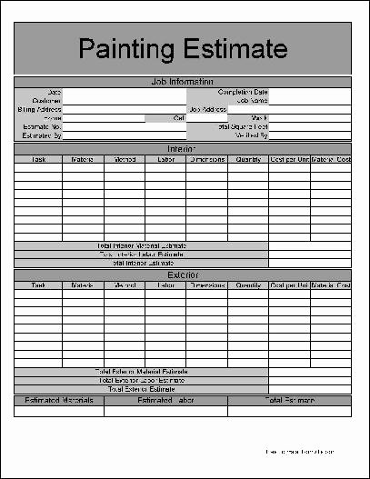 Exterior Painting Estimate Template Beautiful 9 Best Of Painting Estimate forms Printable Free