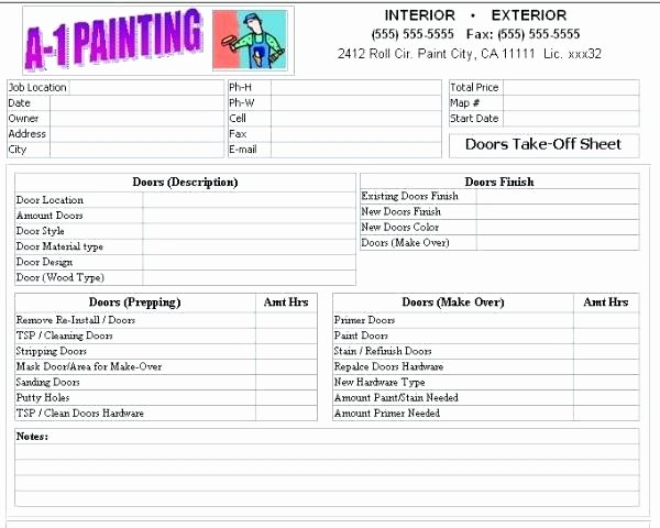 Exterior Painting Estimate Template Best Of Painting Estimate forms Printable – Midcitywestfo
