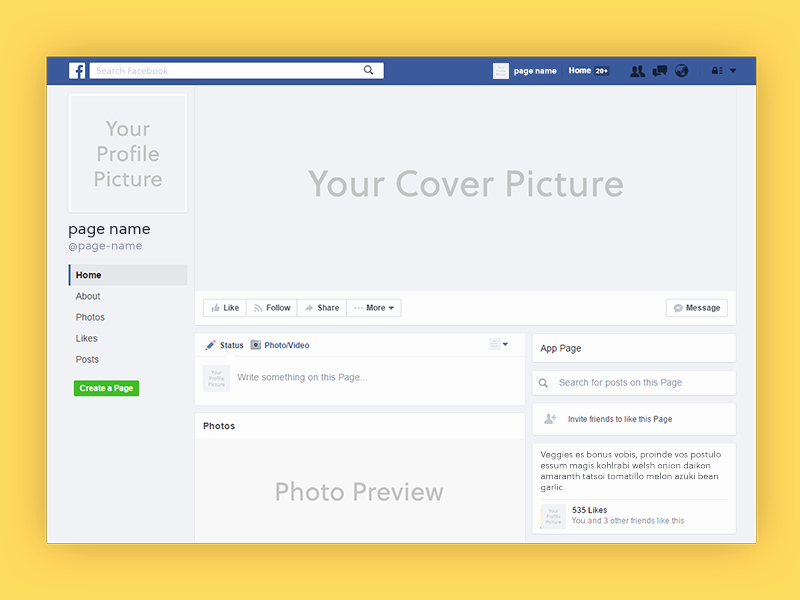 Facebook Page Design Template Awesome Page Mockup 72pxdesigns