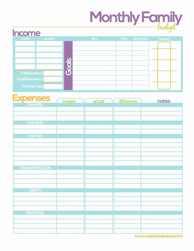 Family Budget Planner Template Elegant Free Family Bud Printable A Spectacled Owl
