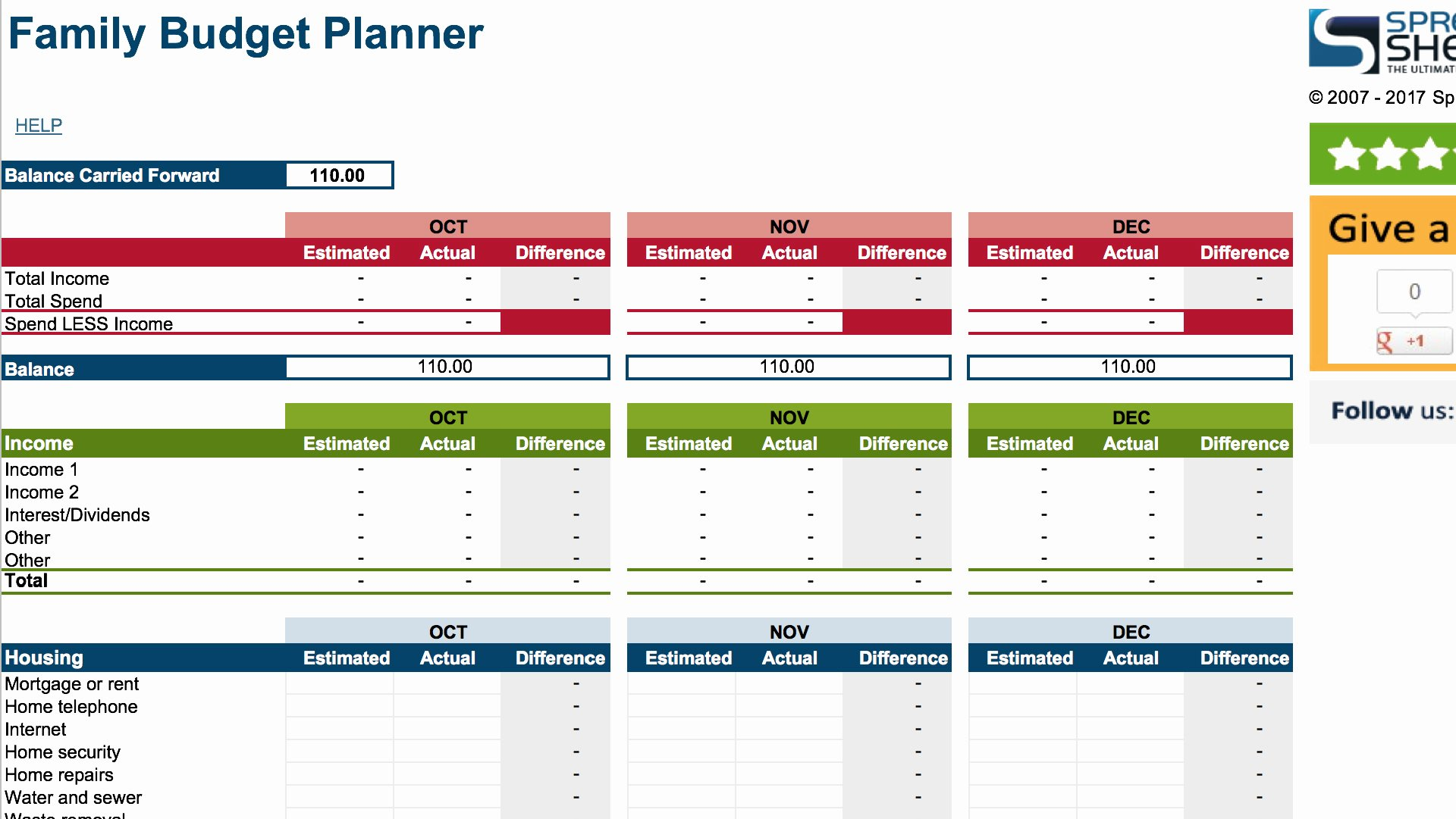 Family Budget Planner Template Inspirational 15 Easy to Use Bud Templates