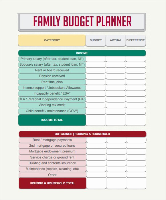 Family Budget Planner Template Inspirational 9 Sample Bud Planner Templates to Download