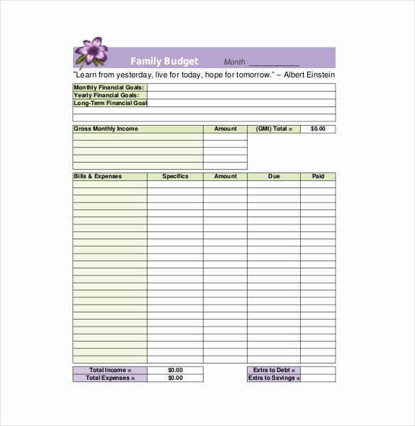 Family Budget Planner Template Lovely 8 Family Bud Templates – Free Sample Example format
