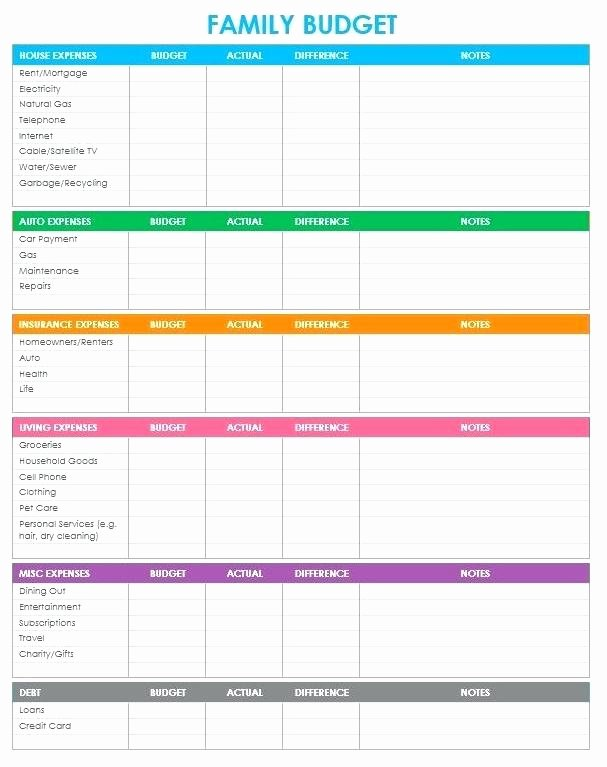 Family Budget Planner Template Unique Family Reunion Bud Worksheet Template Free Monthly and