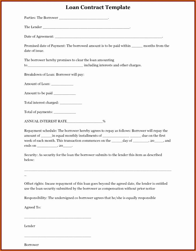 Family Loan Agreement Template Free Awesome Free Family Loan Agreement Template Uk