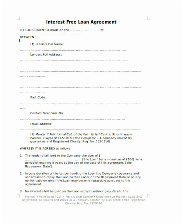 Family Loan Agreement Template Free Beautiful Family Loan Agreement Template