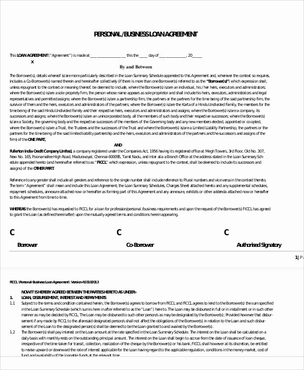Family Loan Agreement Template Free Best Of 25 Loan Agreement Templates