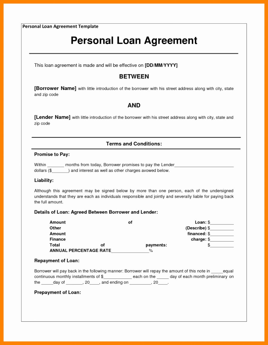Family Loan Agreement Template Free Elegant Family Loan Agreement Template
