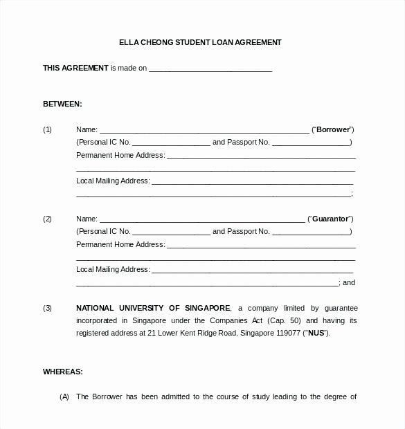 employee loan agreement template singapore blank sample resume car with