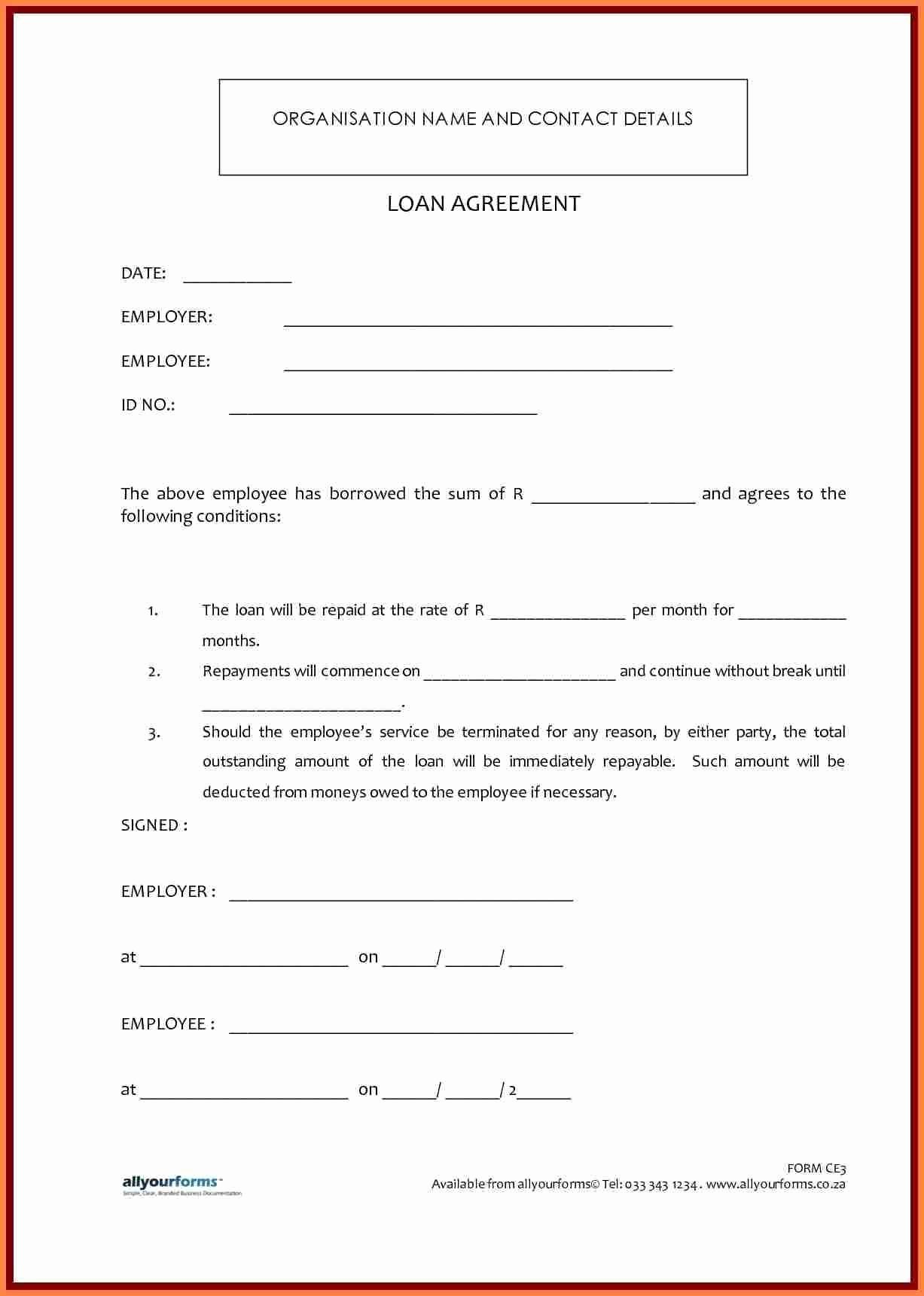 Family Loan Agreement Template Free Unique 41 Last Sample Personal Loan Agreement Between Family Ga