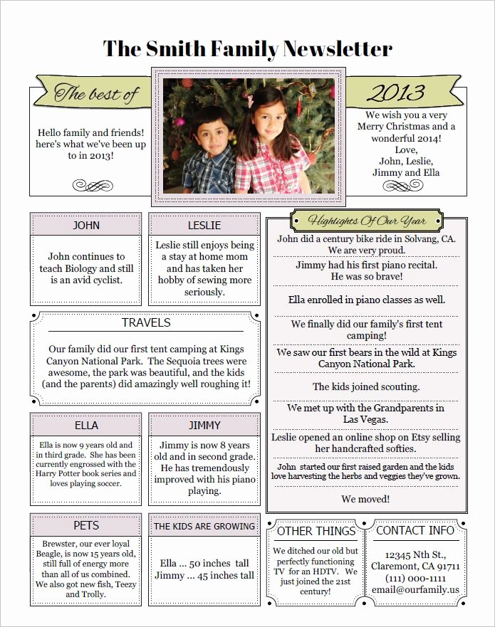 Family Reunion Newsletter Template Awesome 1000 Images About Year In Review
