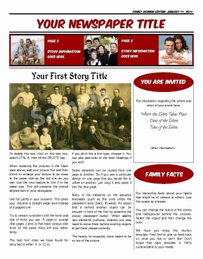 Family Reunion Newsletter Template Beautiful Family Reunion Newsletter Templates Free This Front Page