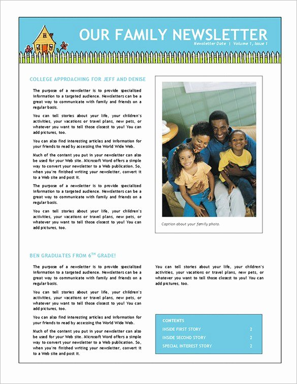 Family Reunion Newsletter Template Best Of Family Newsletter Template