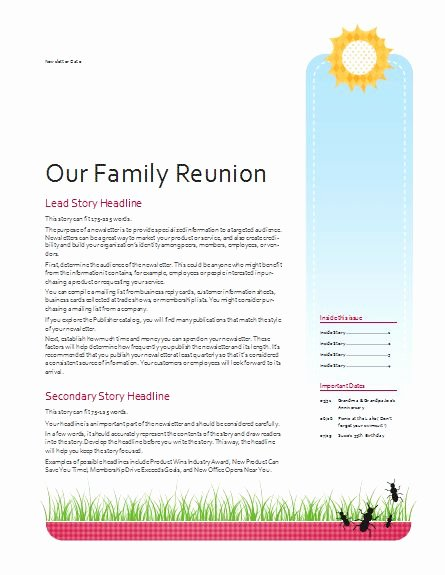 Family Reunion Newsletter Template Luxury Family Reunion Newsletter Template Google Search
