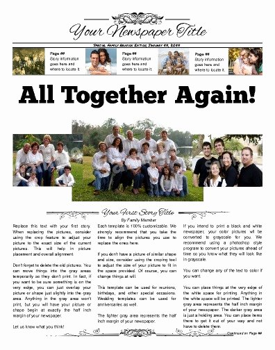 Family Reunion Newsletter Template New Front Page 3 Column