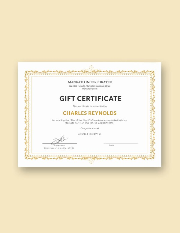 Fancy Gift Certificate Template Luxury 14 Gift Certificate Examples & Samples