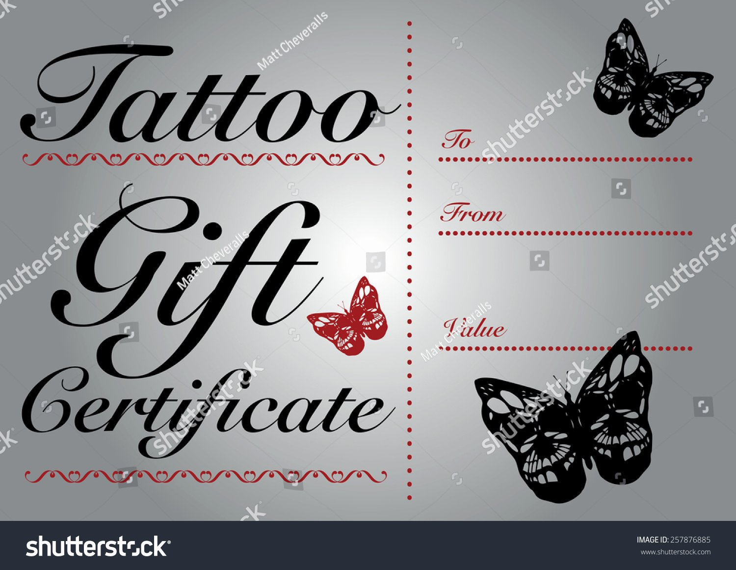 Fancy Gift Certificate Template Unique butterfly Skull Tattoo Gift Card Gift Stock Vector