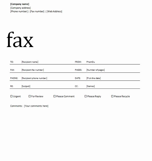 Fax Template Microsoft Word Fresh 14 Word Cover Page Design Microsoft Word Cover