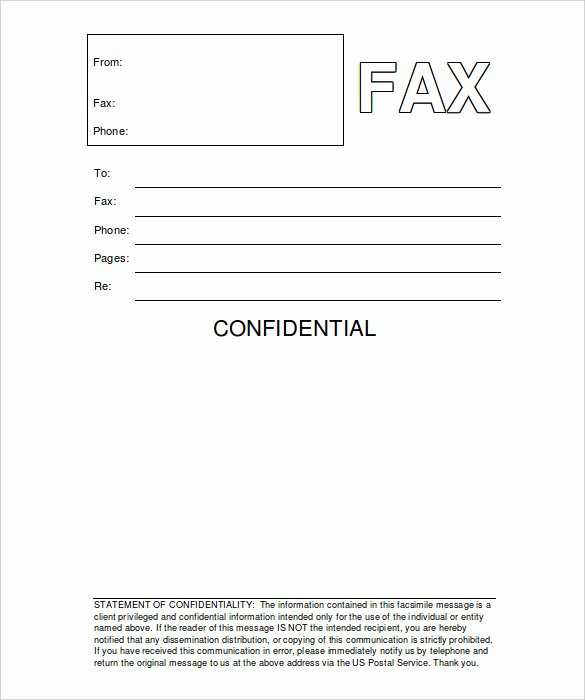 Fax Template Microsoft Word New 8 Confidential Fax Cover Sheet Word Pdf