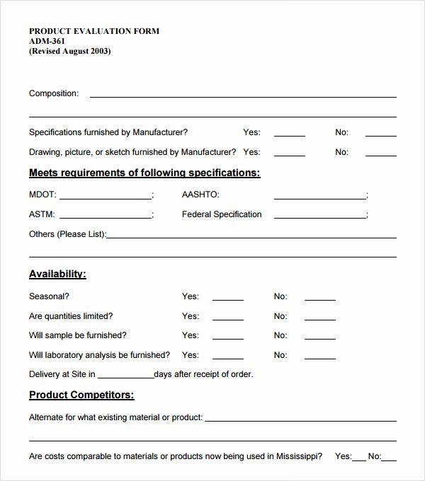 Feedback form Template Word Elegant Product Evaluation 7 Download Free Documents In Pdf