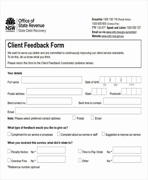 Feedback form Template Word Lovely Sample Client Feedback form In Word 8 Examples In Word
