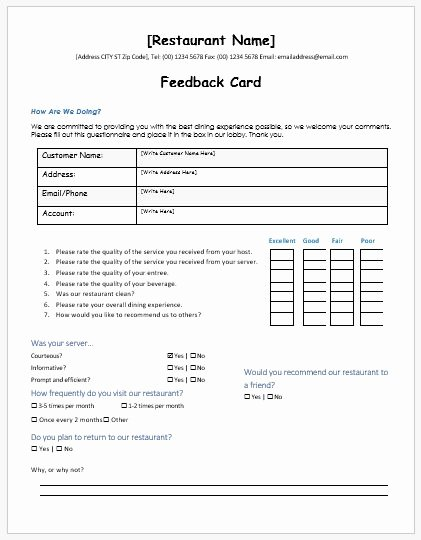Feedback form Template Word New Restaurant Customer Feedback forms Ms Word
