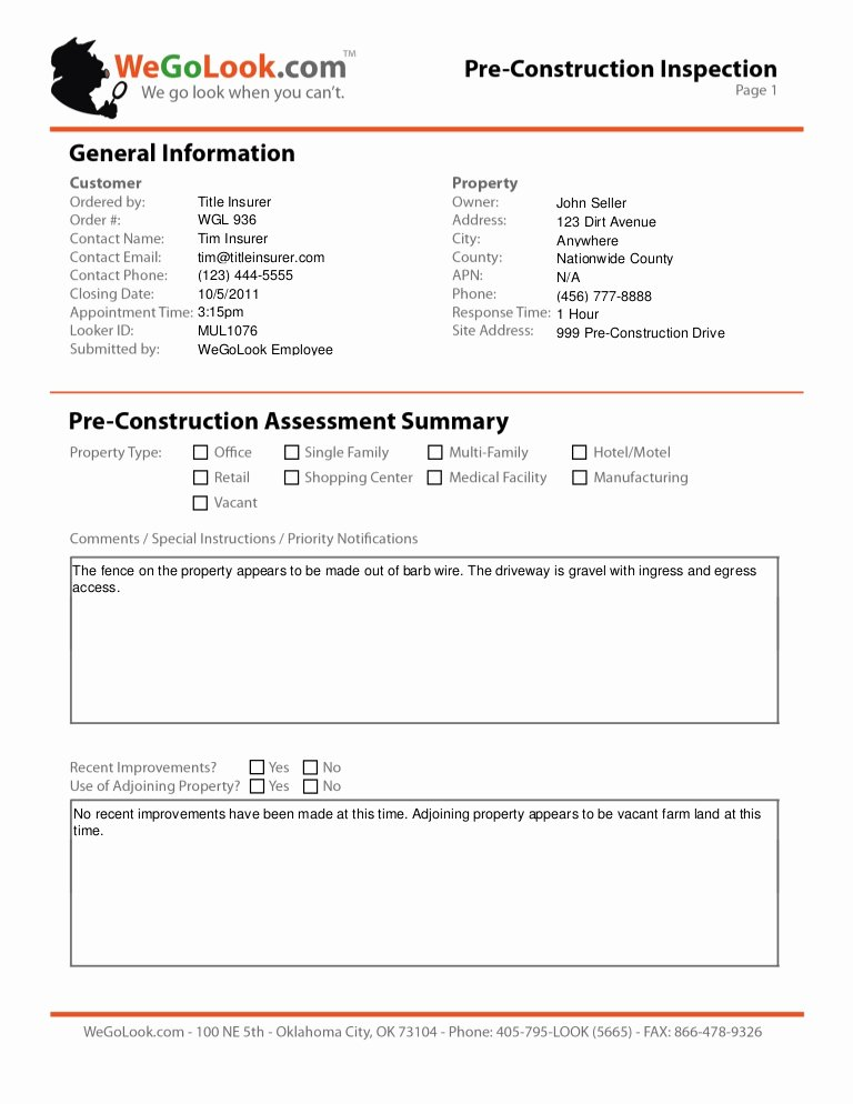 Field Service Report Template Inspirational Field Services Pre Construction Site Inspection Sample