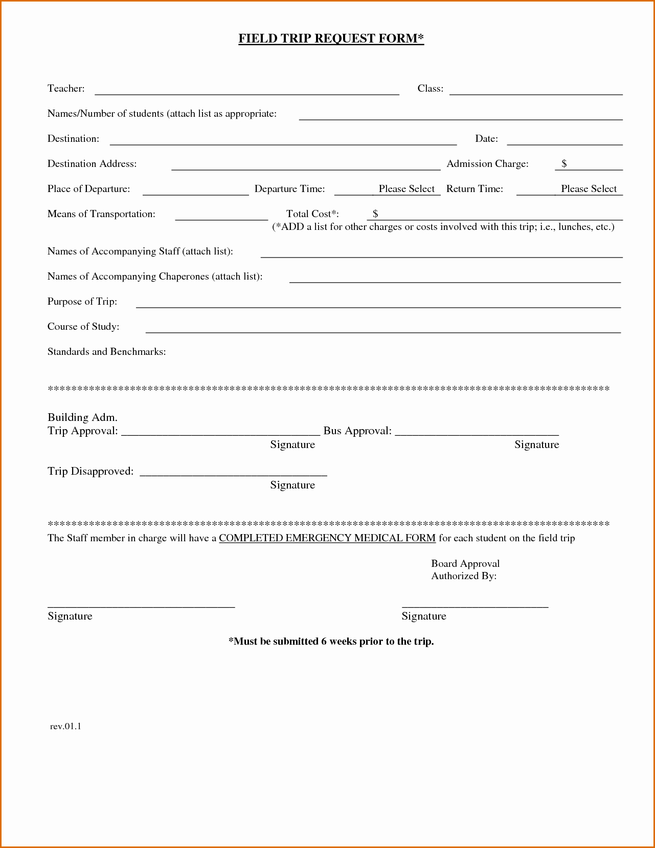 Field Trip form Template Awesome 7 Field Trip form Template