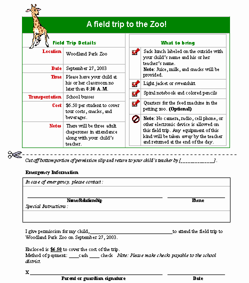 Field Trip form Template Best Of Field Trip Permission Slip form Template
