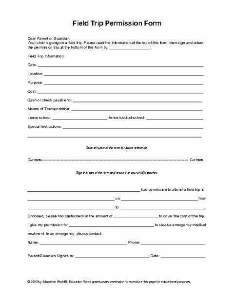 Field Trip form Template Lovely Field Trip Permission Slip Template
