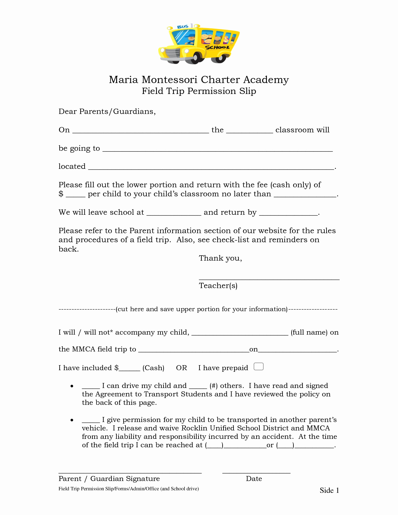 Field Trip form Template Unique Permission Slip Field Trip