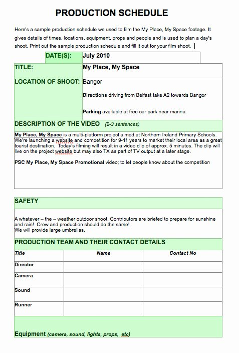 Film Production Schedule Template Fresh Bbc My Place My Space Promote Your Day Out with