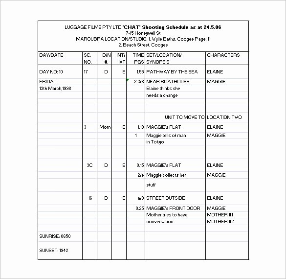 Film Production Schedule Template Lovely 11 Shooting Schedule Templates Pdf Doc