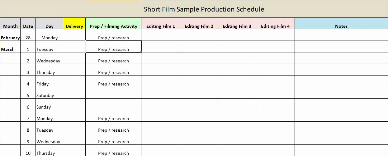 Film Production Schedule Template Luxury Production Schedule Template Excel & Word Excel Tmp