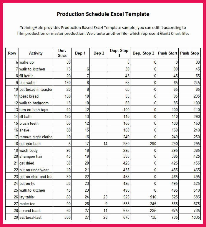 Film Production Schedule Template Luxury Production Schedule Template