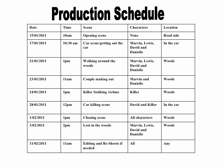Film Production Schedule Template New Production Schedule