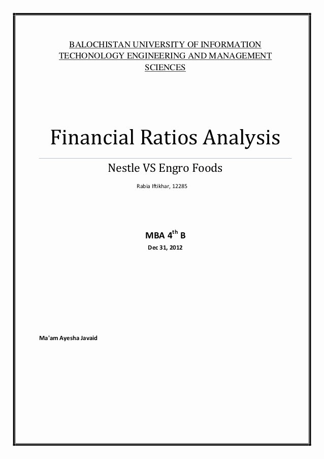 Financial Analysis Report Template Fresh Financial Ratios Analysis Project at Nestle and Engro Foods