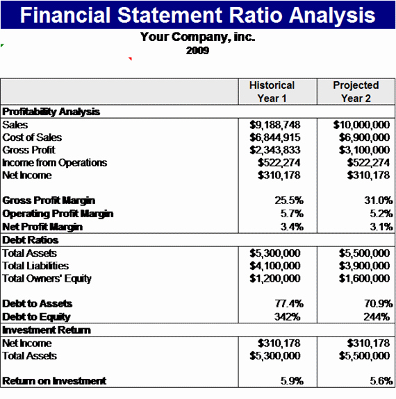 Financial Analysis Report Template Fresh Financial Statement Ratios Template