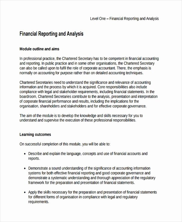 Financial Analysis Report Template Inspirational 33 Financial Analysis Samples