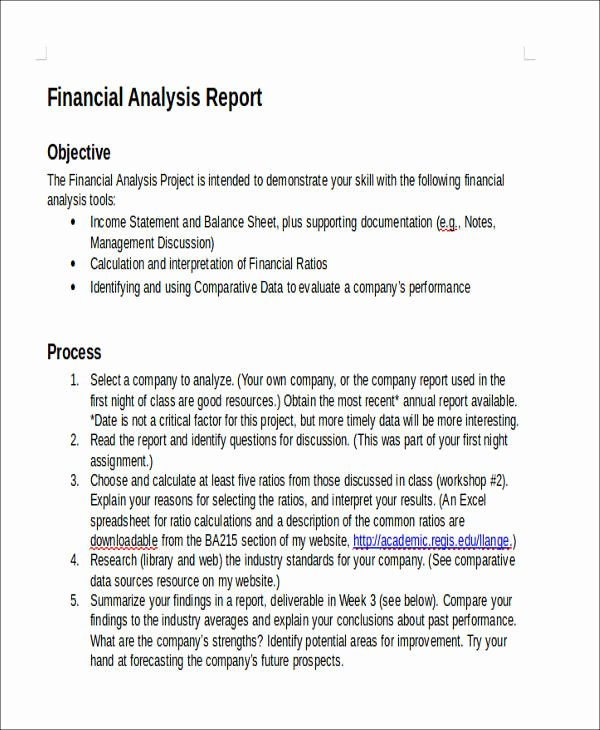 Financial Analysis Report Template Luxury 40 Sample Reports In Doc