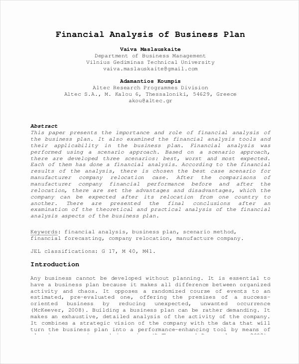 Financial Business Plan Template Elegant Basic Business Plan Templates 12 Free Pdf format