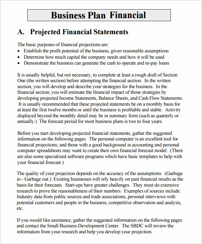 Financial Business Plan Template New Financial Business Plan Templates 10 Premium Word