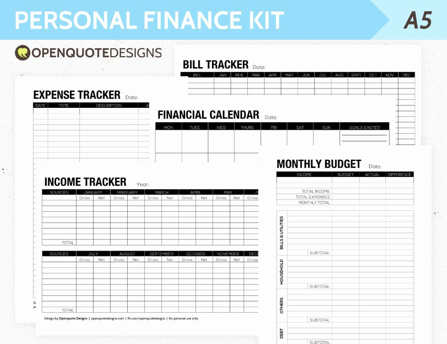 Financial Plan Template Free Awesome A5 Filofax Finance Printable Personal Finance Kit Monthly