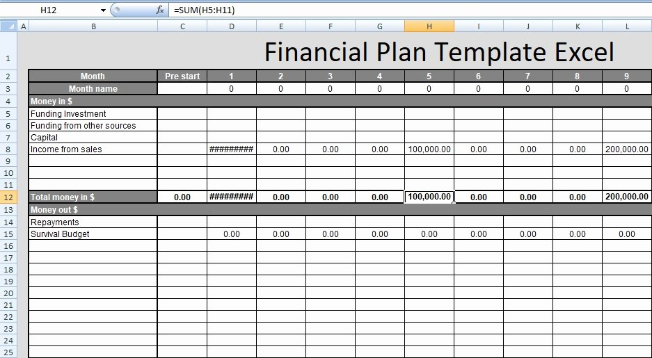 Financial Plan Template Free Lovely Financial Plan Template Excel Free